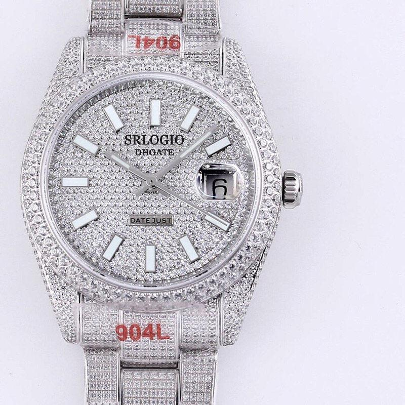 전체 다이아몬드 망 시계 자동 기계식 시계 40.6mm 다이아몬드 베젤 방수 사파이어 손목 시계 다이아몬드 스텐딩 스틸 팔찌 몬트르 드 Luxe
