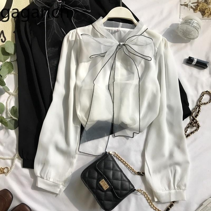Gagarich Mujeres Blusas de gasa Moda Arco Lace Up Linterna de manga larga Señoras Tops Sólidos Primavera Autumn Hadas Elegante Camisa Femme 201202