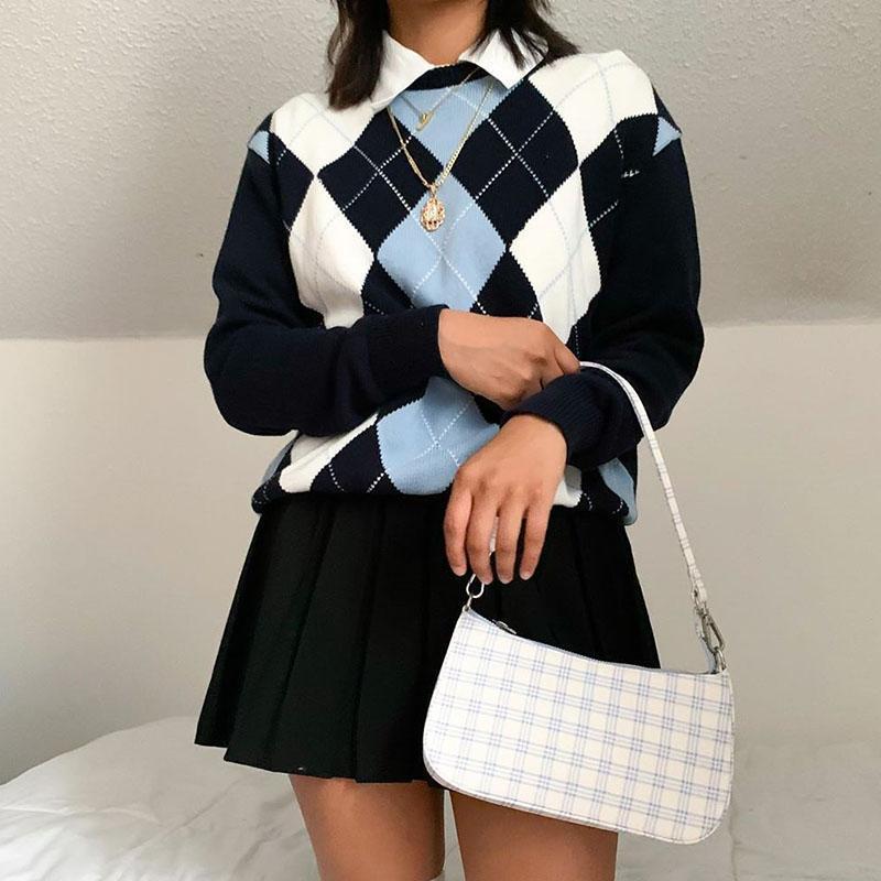 Women's Sweaters 2021 Women Long Sleeve Casual Preppy Knit Sweatshirt Jumoer Chic Tops Outfits Vintage Winter Knitted Sweater Pullovers