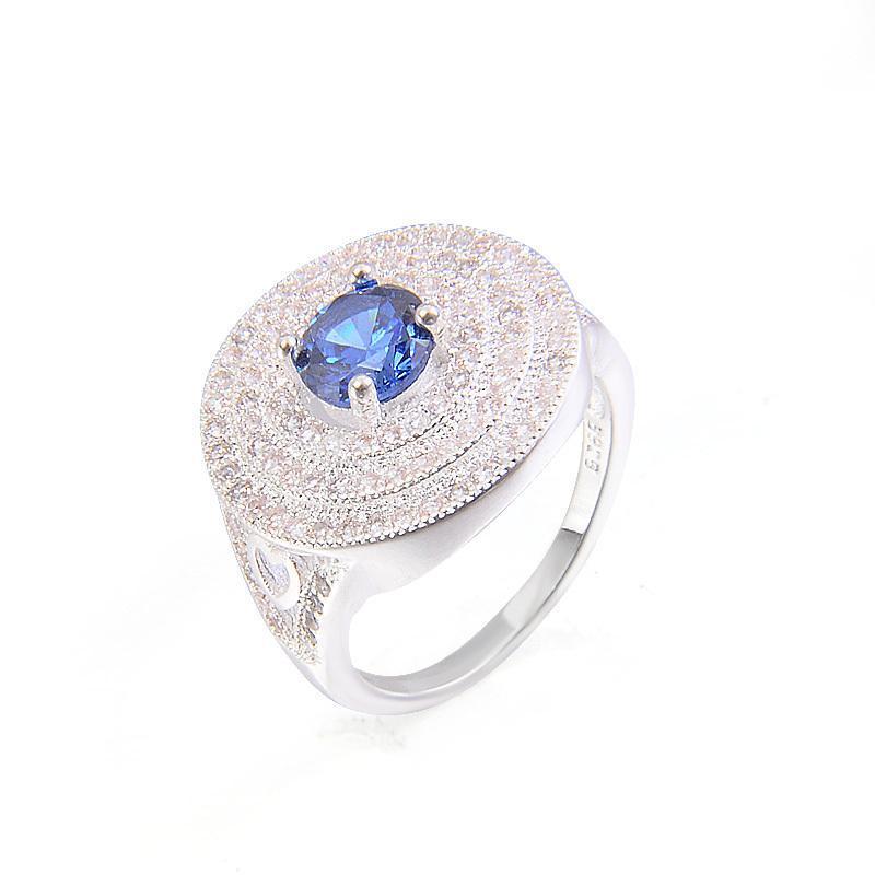 Eheringe 2021 Grün Rosa Weiß Blau Mode Große Runde Kubikzircon Silber Farbe Fabrik US Größe 6 7 8 9 Aktienverteilung