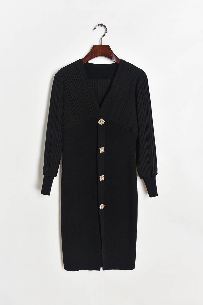 Frauen V-Ausschnitt gestrickte Nähte Chiffon Langarm Kleid Temperament Falten mit hohem Taillenrock
