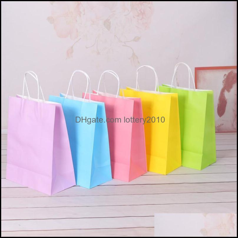 Wrap Event Festive Supplies Home & Gardenassorted Small Neon Colored Gift With Handles Kraft Paper Bags Birthday Wedding Party Favor Goodie