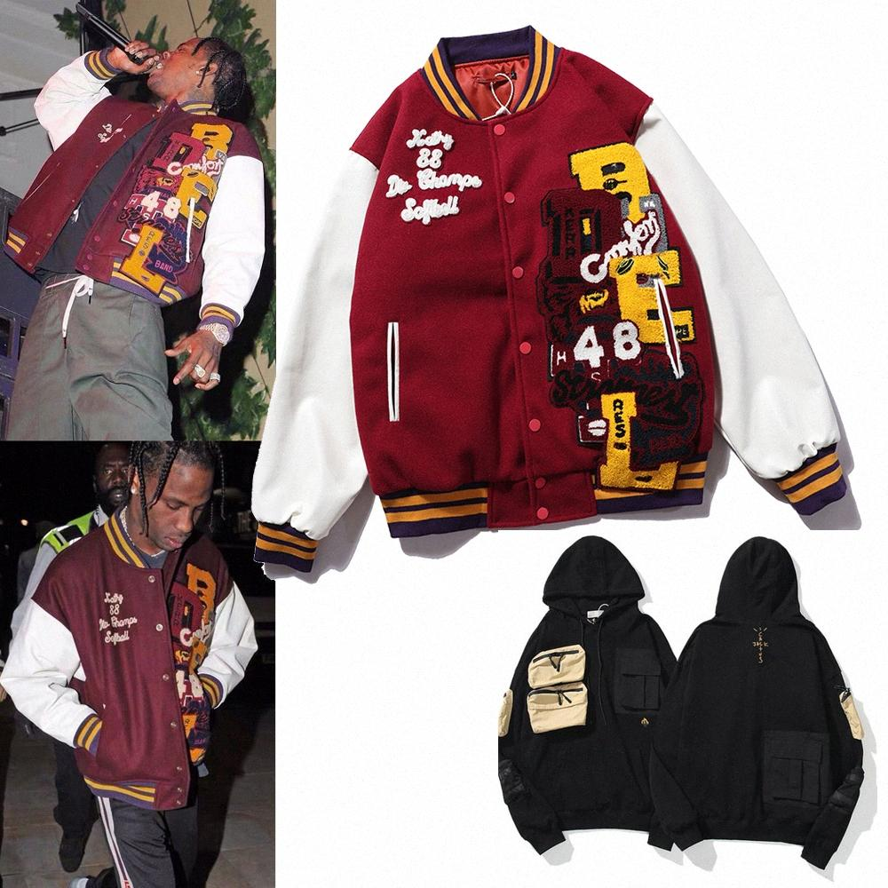 Travis Erkek S Hoodies Scott TS Ortak Kaktüs Jack Dikiş Nakış Beyzbol Üniforma Gevşek Trend Coat Erkek Kadın Pamuk Ceket O5S9 #