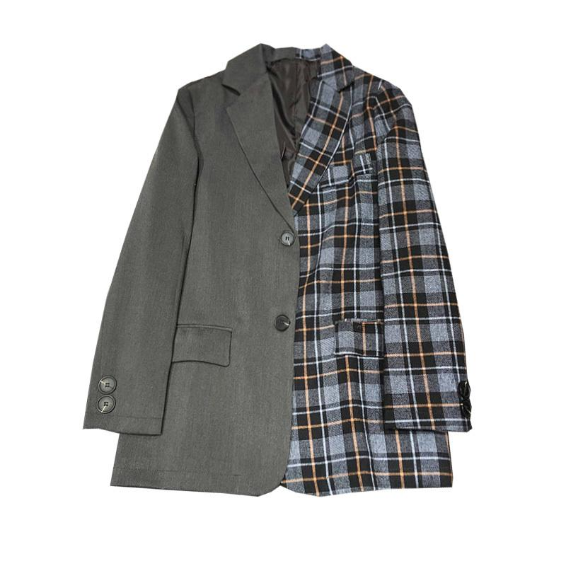 Spring Ladies Suit Vintage Gray Lattice Stitching Contrast Color Matching Check Blazer Women Coat Sweet Casual Jacket 210510
