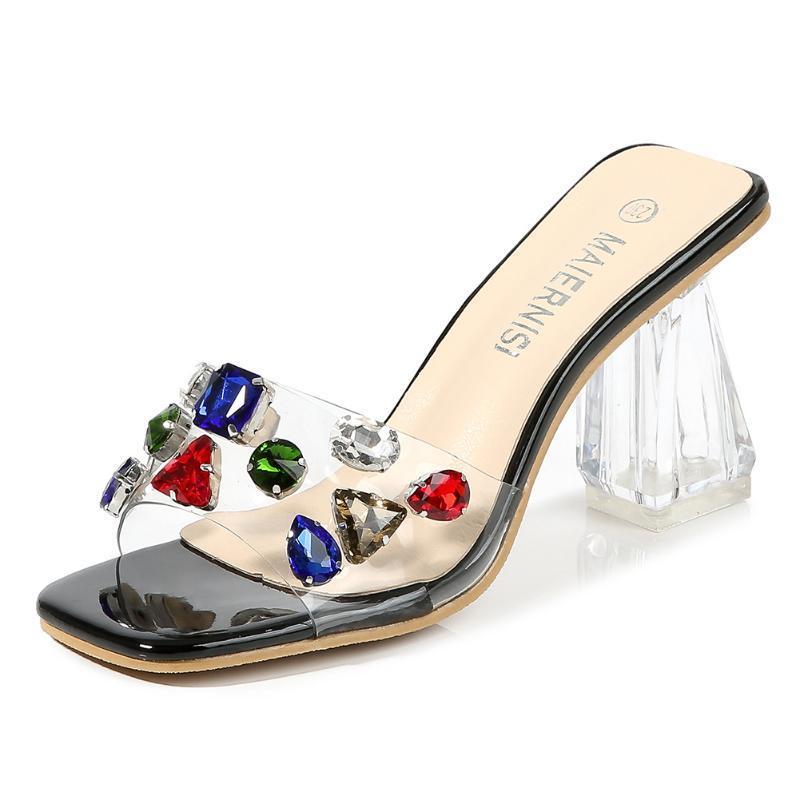 Sandalet McLubgirl kadın düşük top kare tedarik artı kristal şeffaf perçin seksi kadınlar için parti için wz-t8-8