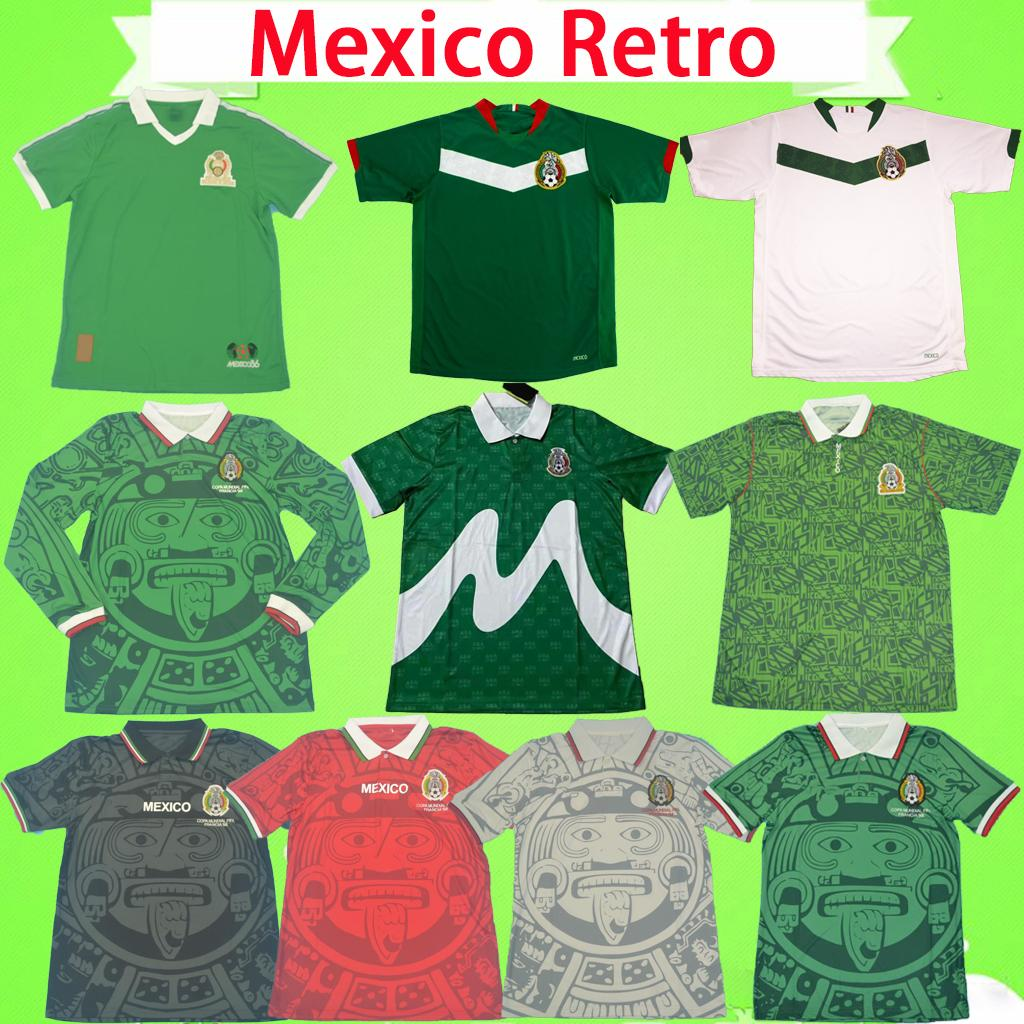 Acquista Messico 1998 Maglie Da Calcio Retrò Portiere Portiere Vintage Camicie Da Calcio 1986 1994 1995 2006 Green Home Away Bianco Nero Rosso Blanco ...