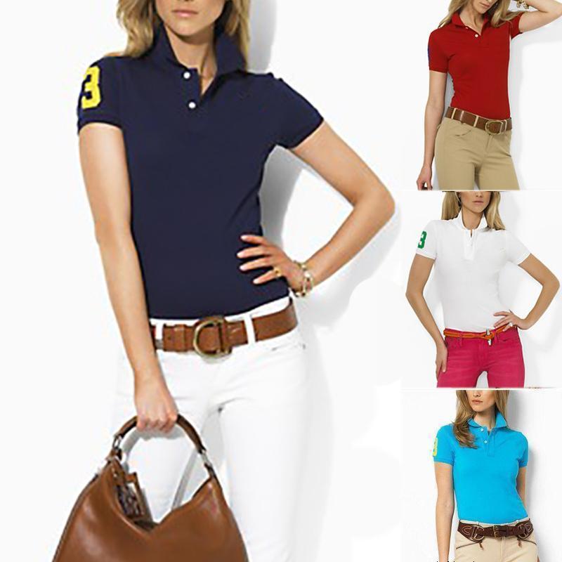 Bayan Polo T Gömlek Klasik Yaz Tee Hayvan Nakış Otantik Kadınlar Casual Moda Kısa Kollu