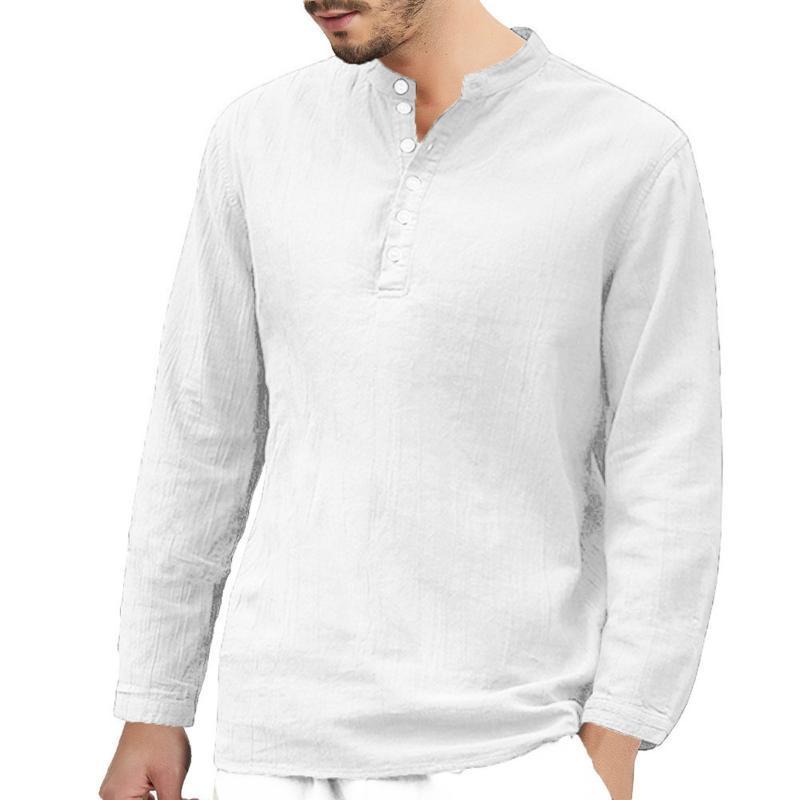 Feitong Cotton Linen Shirts 남성용 헐렁한 긴 소매 단추 레트로 V 목 흰색 솔리드 여름 탑스 옴므 남성 의류 캐주얼