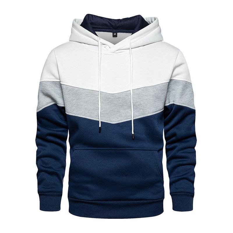 Herren Hoodies Sweatshirts 2021 Trendy Hoodie Patchwork Herbst und Wintermode Beiläufige Lose Fleece Warme Straße Jacke