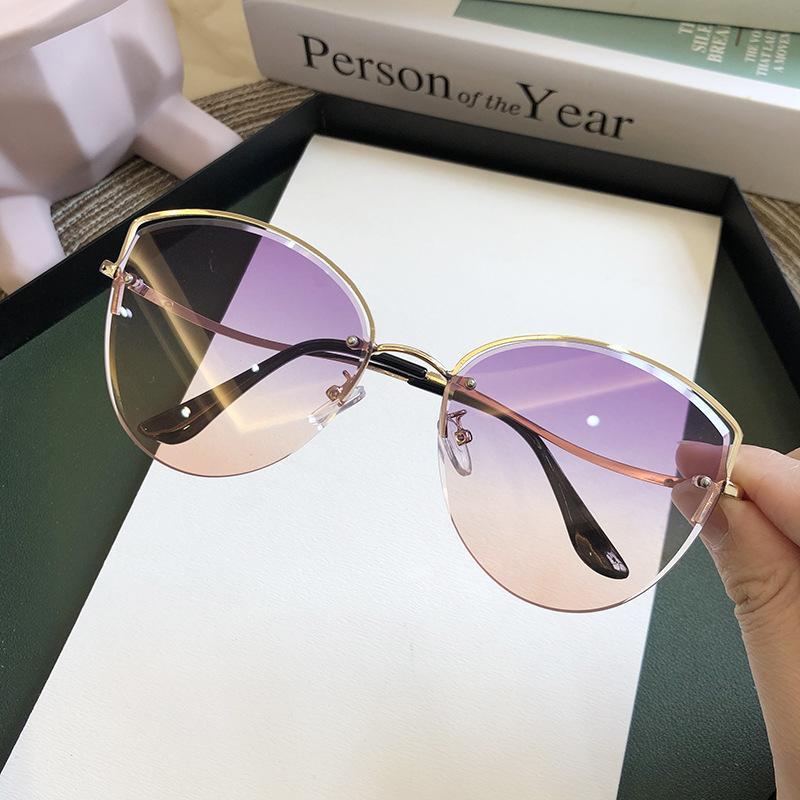 Alta Qualidade Womens Oval Cat Eye Óculos de Sol Lady Metal Rimless Máscaras Luxo Óculos de Sol Feminino Condução de Óculos Zonnebril Dama