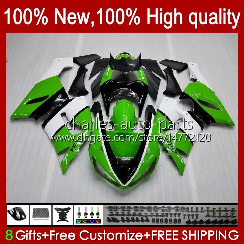 Cuerpo de moto para Kawasaki Ninja OEM ZX600C ZX636 ZX 6R 6 R 600CC 05-06 Bodyworks 7NO.8 ZX600 ZX 636 ZX-6R 2005 2006 ZX-600 ZX-636 600 CC ZX6R 05 06 ABS Kit de carenado blanco