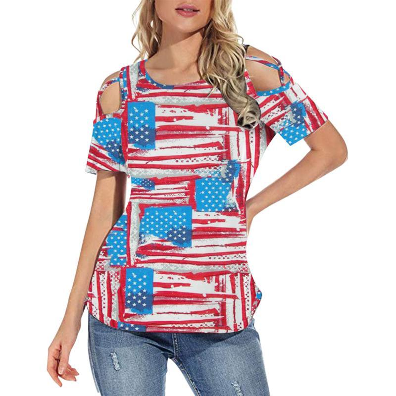 Stil USA Frauen Sommer Kurzarm Strappy Kalt Schulter T-Shirt Tops Blusen 3D Nationalflagge Fast Dropship Frauen