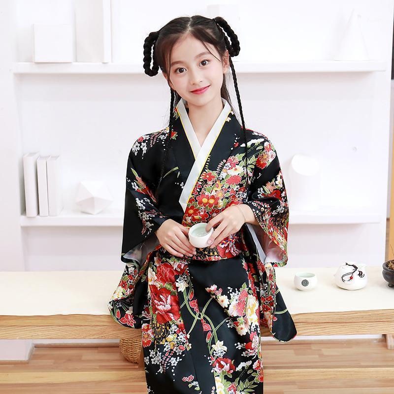 아기 소녀 기모노 전통적인 공식적인 드레스 아이 일본식 파티 코스프레 의상 어린이 유카타 roves haori samurai clothing1