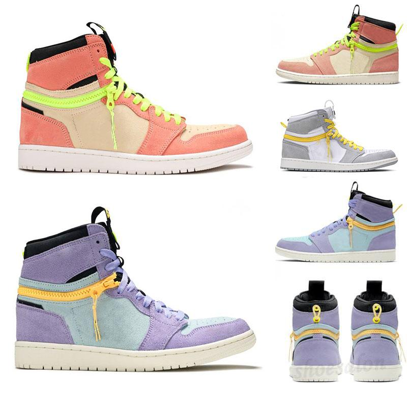 Jumpmans 1 Basquete Sapatos Clássico 1S Alta Switch Light Somke Cinza Pulso Pulso Luxurys Designers Moda Sapatilhas Ao Ar Livre Amarelo Zíperes Sapato Esportivo