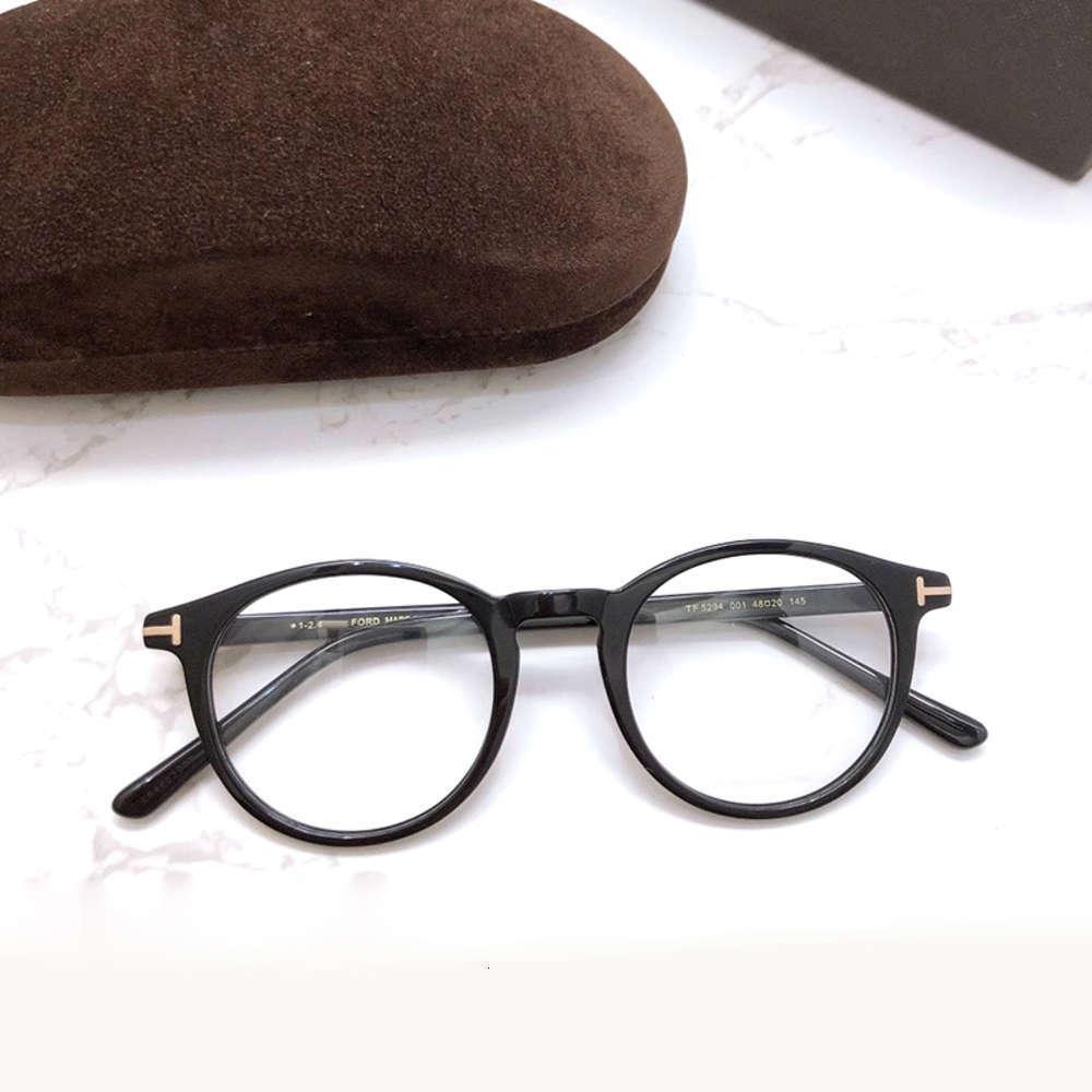 Vintage Tom para homem Óptica Óptica Eyeglass Forde Rodada Acetate Homens Mulheres Reading Myopia Pretor de Pretrições TF5294 com caso