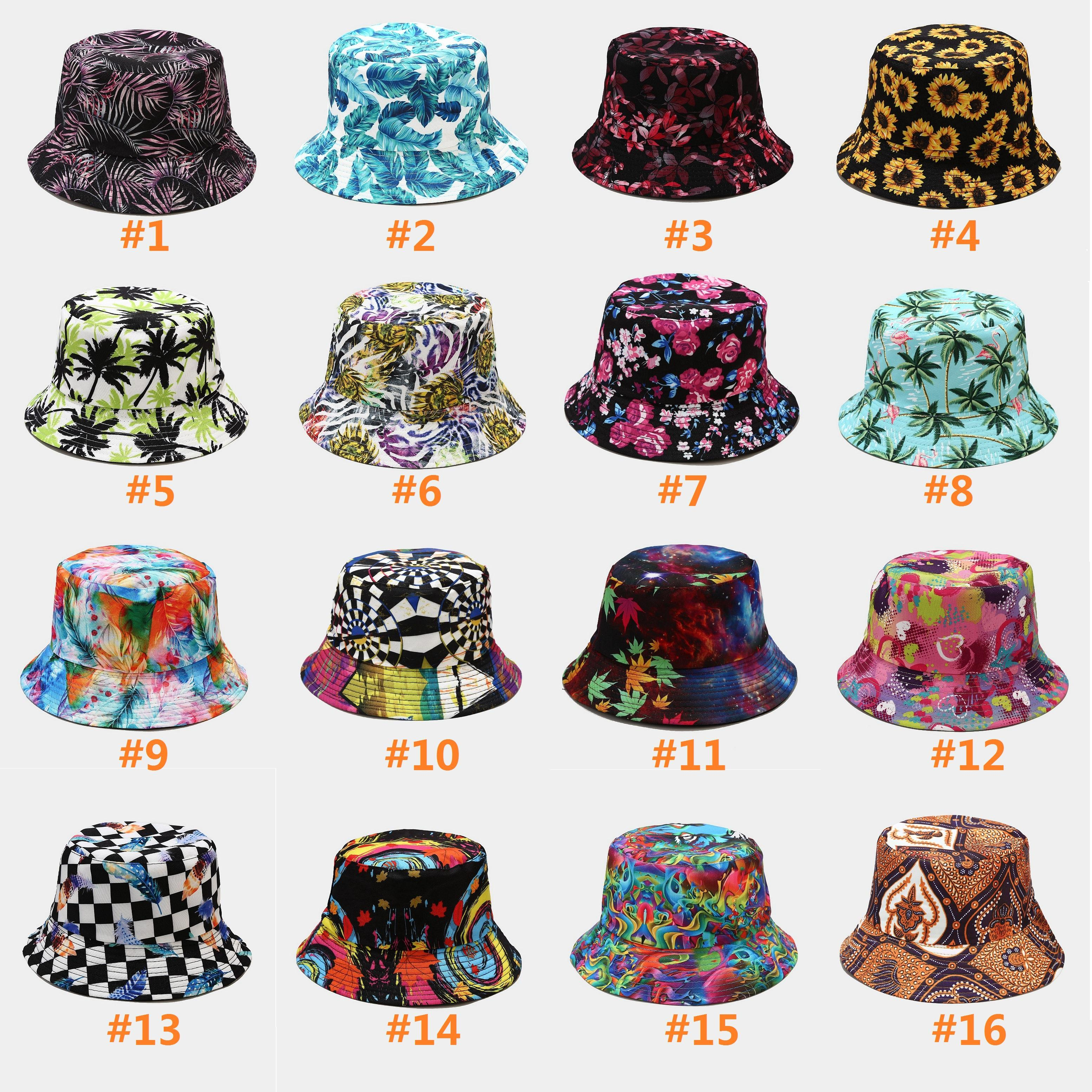 Botanical print fisherman hat spring and summer day outdoor sun protection hats travel Cap