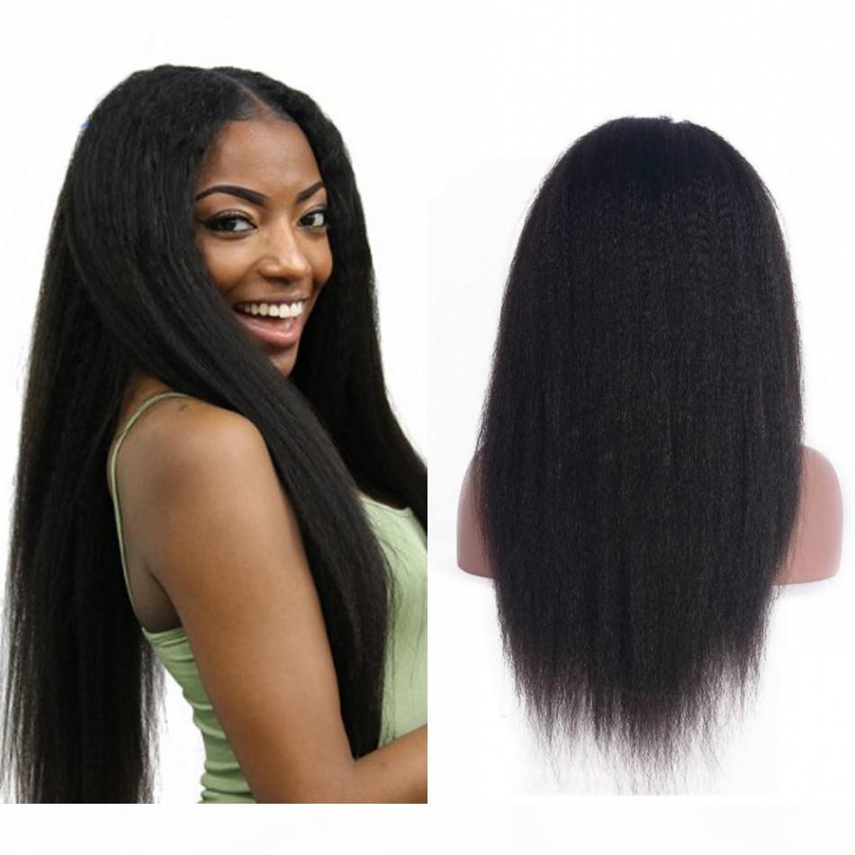 Cheveux humains brésiliens perruques droites de dentelle droite avec nœuds blanchis à cheveux de bébé 130% de dentelles de dentelle pour femmes noires