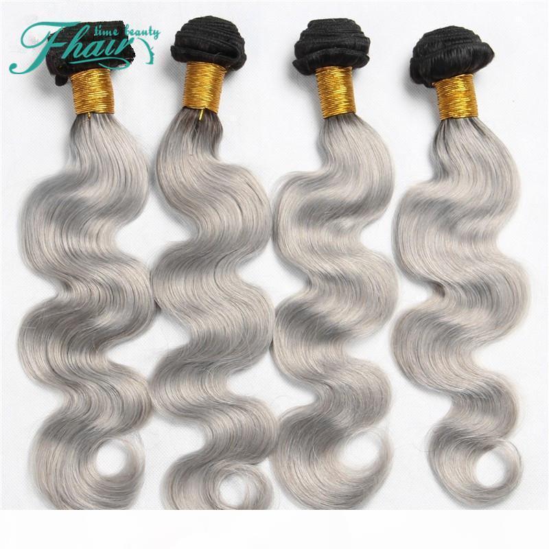High Products 9A Brazilian 4 Pcs Human Hair Extensions Ombre Silver Grey Hair Weave Bundles 1B Grey Two Tone Brazilian Body Wave