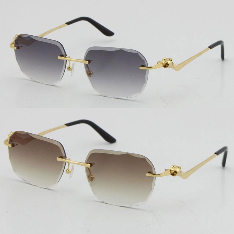 2021 Rimless Fashion Leopard 시리즈 골드 18K 선글라스 금속 운전 안경 고품질 디자이너 UV400 3.0 두께 Frameless 다이아몬드 컷 렌즈 안경
