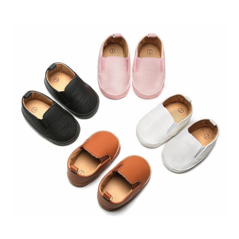 أول مشوا 4 ألوان 0-18m الرضع طفل رضيع فتاة شيس براءات الاختراع الجلود الصلبة الضحلة الانزلاق على الأحذية
