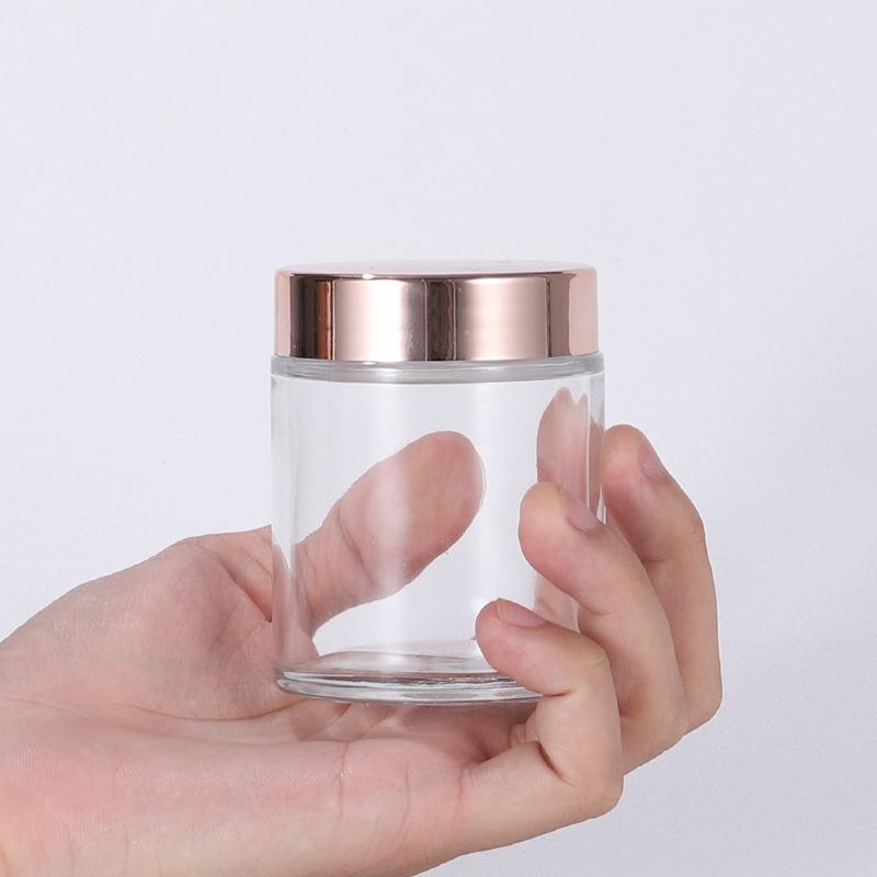 Transparente Rose Gold Creme Garrafa de vidro frascos frascos de cosméticos com tampas de plástico PP Liner 5G 10G 30G 50G Embalagem Garrafas NHC7672