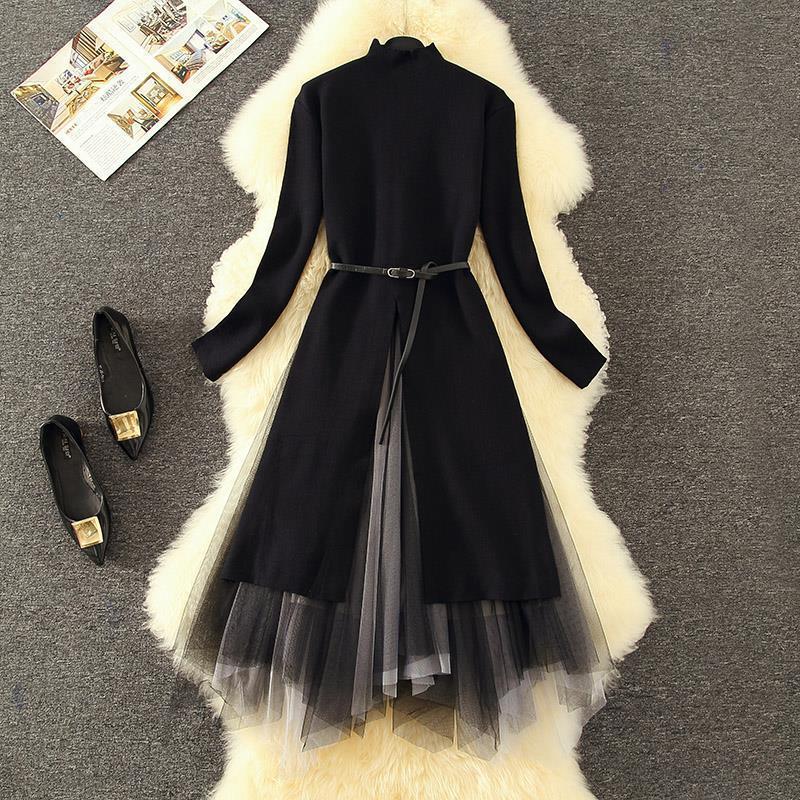 Vintage Black Long Knit Suit Womens Dresses Turtleneck Knitting Gauze Slim Polyester 2 Pcs Set Autumn Winter