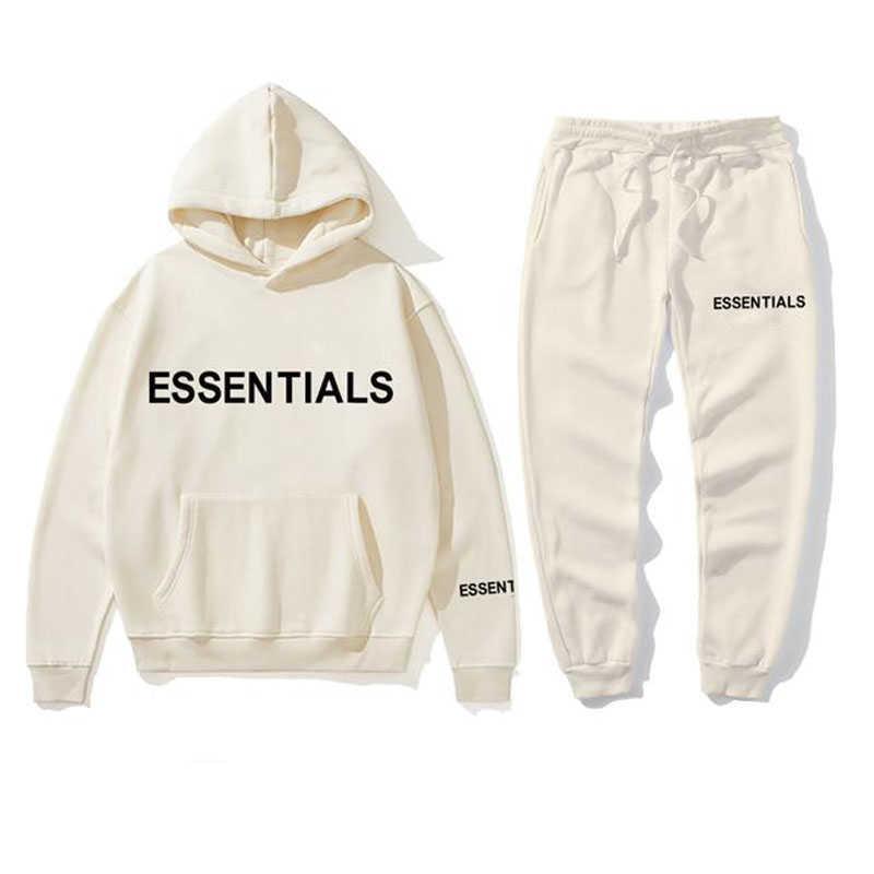 Yeni Hoodie Takım Elbise Erkekler Ve Kadınlar Essentials Kanye Harfler Baskı Kazak + Sweatpant erkek Kazak Hoodie Spor Pantolon Eşofman X0610