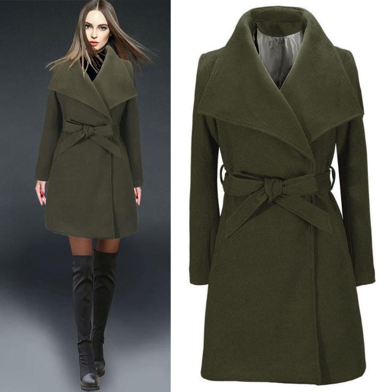 Womens Long Coat 패션 그린 파카 따뜻한 양모 옷깃 트렌치 재킷 느슨한 빈티지 슬림 오버코트 Veste Hiver Femme # 26 여성용 니트 티셔츠