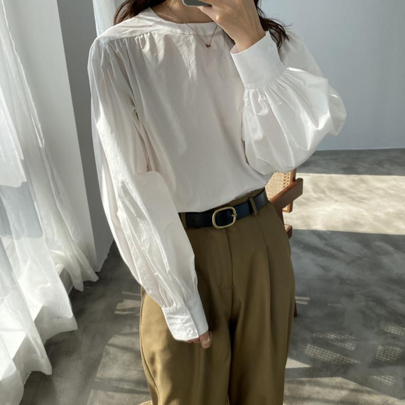 White shirt women's loose autumn long sleeve foreign style retro Hong Kong