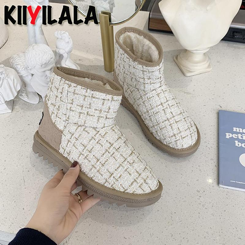 Boots Kiiyilala 2021 Winter Women's Short Snow Integrated Booties Star Plush Models With The Same Transparent Waterproof