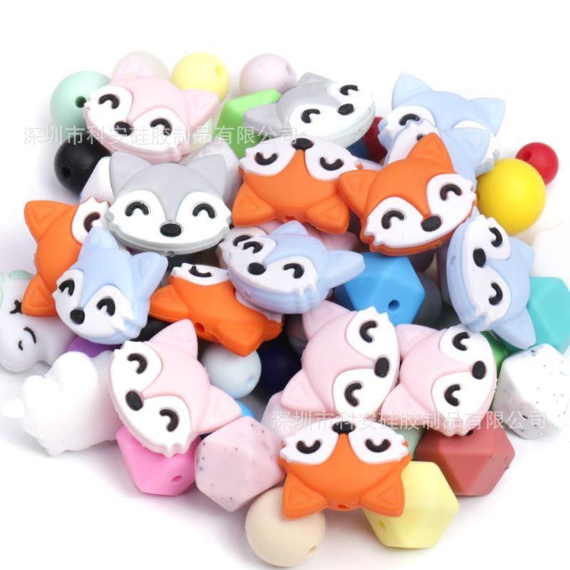 LOFCA 동물 구슬 실리콘 BPA 무료 젖니없는 목걸이 유니콘 비즈 아기 Teether 코끼리 머리 젖니가있는 장난감 폭스 액세서리 1046 x2