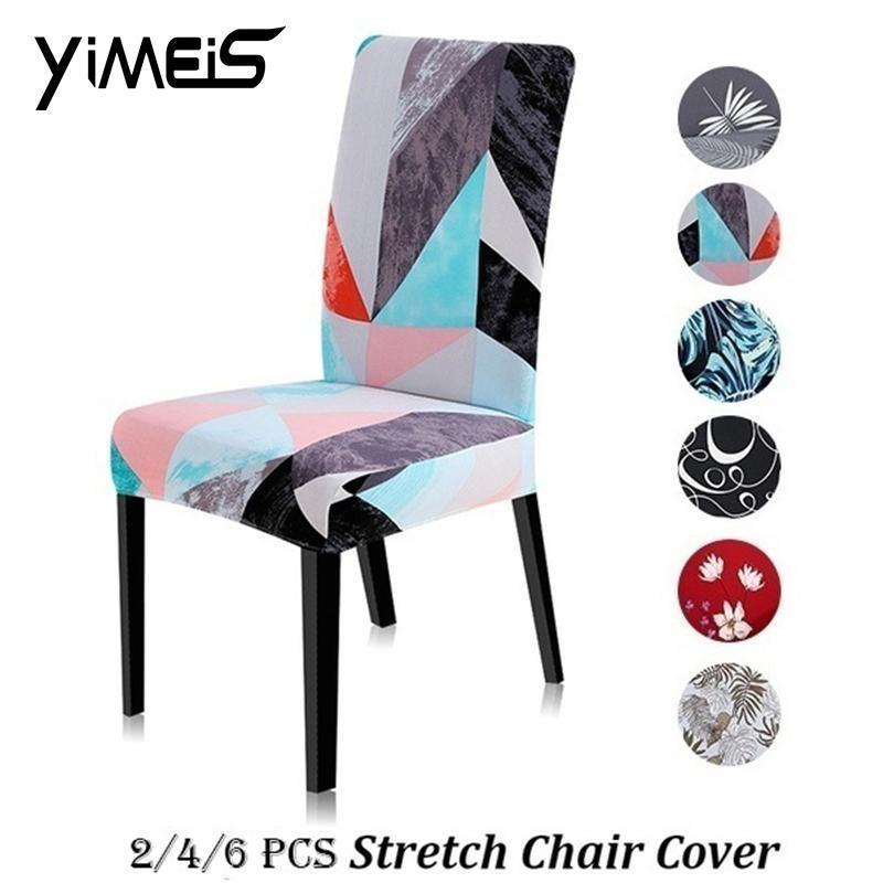 Copre sedie Universal Dimensioni universali Stretch Stampante stampato 2/4 / 6PCS Spandex Couch Protector Slipcovers per sedie per banchetti da sposa EL