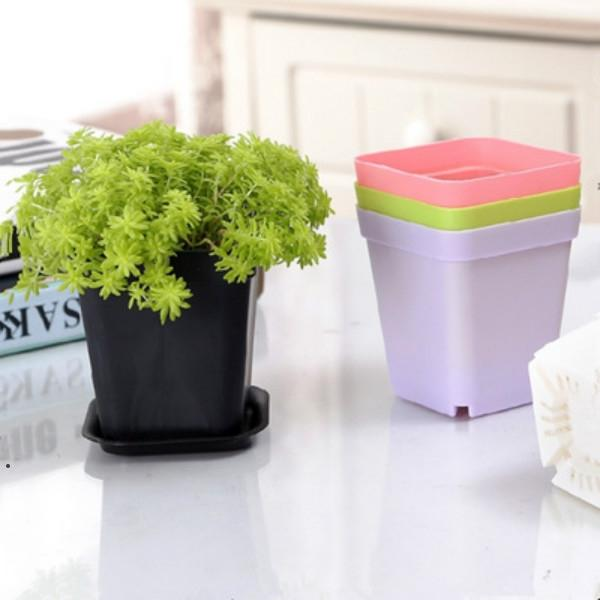Mini macetas con chasis Colorido Plástico Nursery Pot Flowers Planter para Gerden Decoration Home Office Desk St Planting HHB6059
