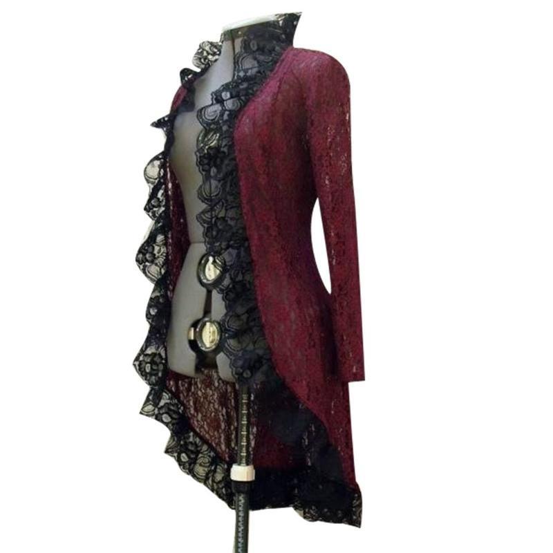 Jacke langes kleid vintage frauen mittelalterlich steampunk stehen kragen space up cardigan dame herbst schwarz rot casual kleider