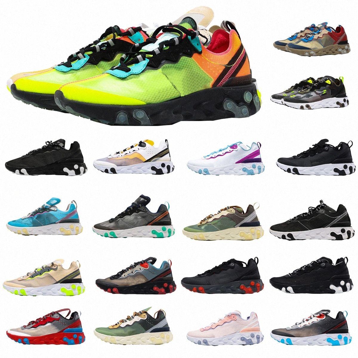 air airmax max Réagir Vision Hommes Élément Femmes 87 55 Tennis Chaussures de course en plein air Mens Summit Blanc Schéma Black Iridescent Iridecent Be véritable Sports Swgs0 #