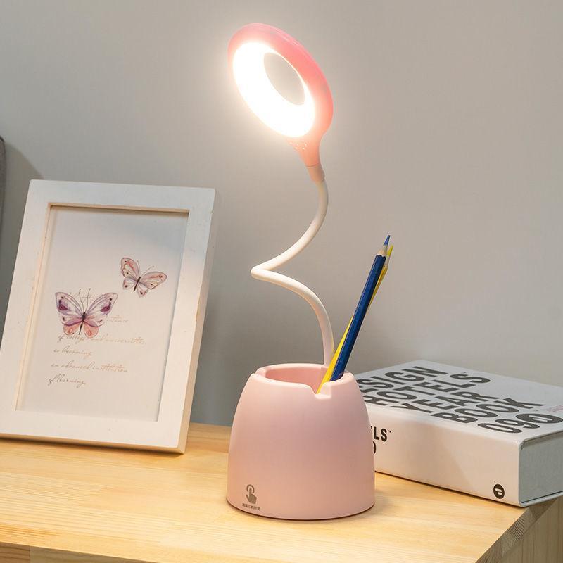 Masa Kitap Işık Dokunmatik Bükülebilir LED Masa Lambası Göz-Korumak Çalışma Katlanabilir Masaüstü Kalem Tutucu USB 3mode Ev Yatak Yan Gece Okuma Pembe