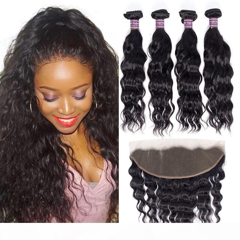 Brasili Brasiliani dei capelli umani del tessuto dei capelli umani con i pacchi frontali dei capelli vergini non trasformati con le estensioni dei capelli del remy frontale del pizzo