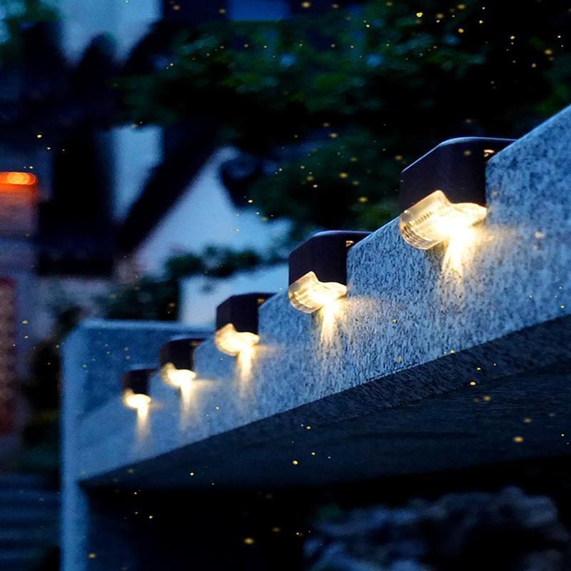 Solarlampen Treppenlampe LED-Leuchten im Freien wasserdicht Gartenlichtzaundekoration für Patio-Treppen-Yard