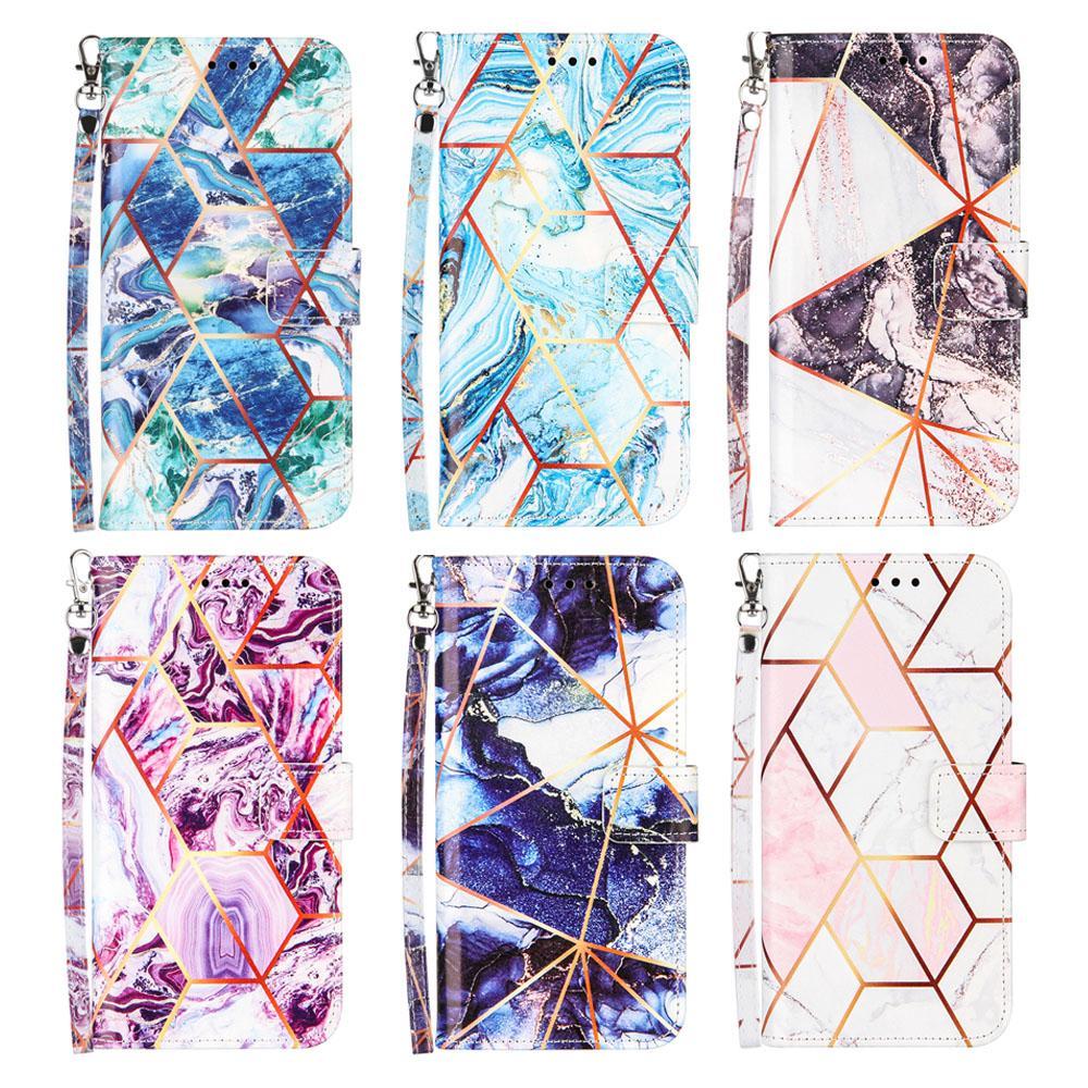 PU Deri Çevirme Cüzdan Kılıf iphone 12 11 Prokax 12Pro 11promax XR XS Max 8 7 Artı 6 6 Splus Altın Geometrik Mermer Kılıfları Kapak