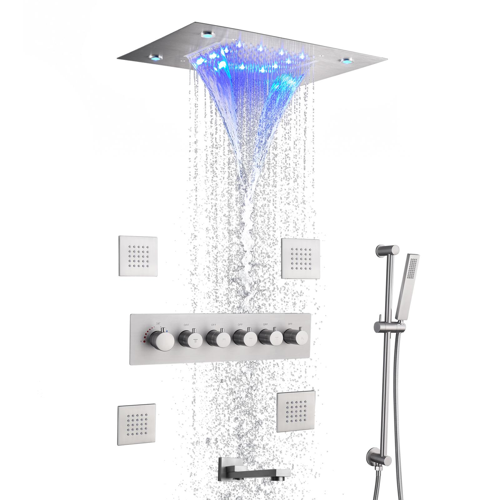 Thermostatic Brushed Rain Shower Faucet System Bathroom Mixer Set Ceil Mounted 14 X 20 Inch LED Waterfall Rainfall Shower Head