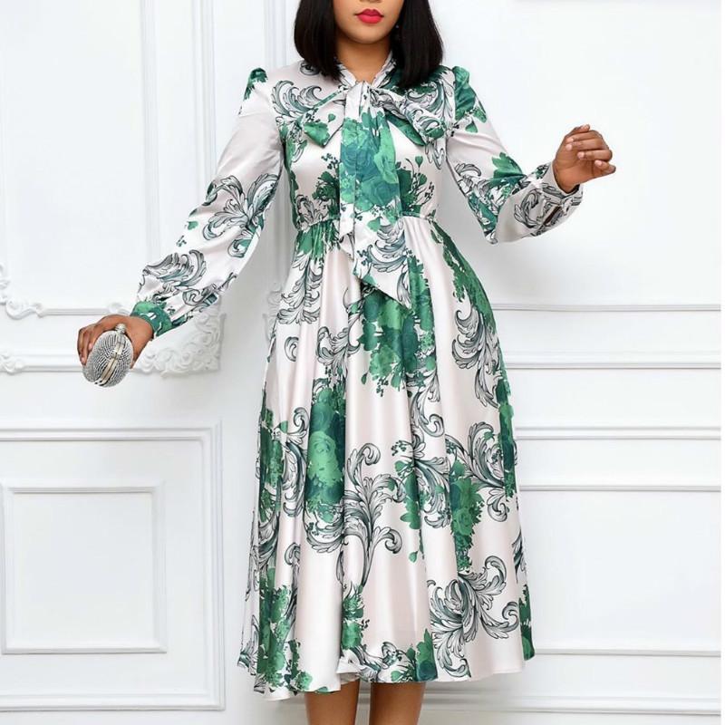 Mulheres mangas compridas impresso vestidos com colarinho bowtie plissado alta cintura midi elegante senhoras moda africana vestidos vestes