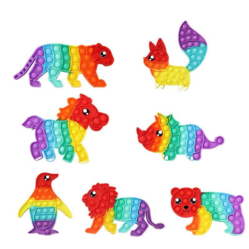 Fidget jouets sensoriel coloré coloré tigre rhinocéros de rhinocéros poussoir bulle poppers macaron arc-en-ciel bulles musique décompte surprise figet jouet gros