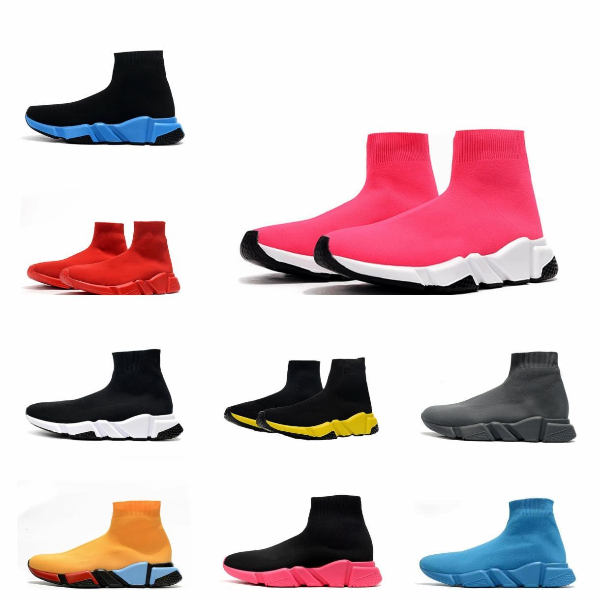 2021 Diseñador SOCK SPORT SPORT SPORT 1.0 Zapatos casuales Entrenadores de lujo Mujeres Mujeres para mujer Corredores Zapatillas de deporte de la moda SOCKS BOOTS Platform ClearSole Fluo Sneaker