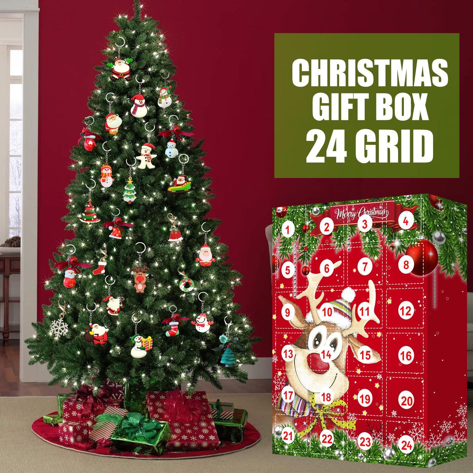 24 Tage Adventskalender mit 24 stücke Hängenden Ornamente Weihnachten Countdown Kalender Blind Box Party Favors Für Weihnachten Urlaub Dekor Kostenloses DHL Schiff HH21-608