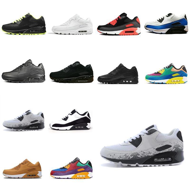 2021 Nike air max Classique Hommes Femmes New Arrival Coussin 90 Essential Chaussures respirantes Sport en plein air Chaussures de sport gris blanc noir rouge rose 36-45