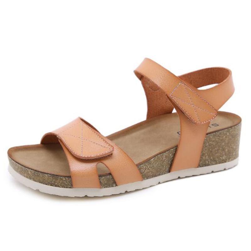 Sandali estivi della donna per le scarpe da donna comodo morbido femmina zeppa antiscivolo Beach Beach Thick Bottom Cork Ladies Q246