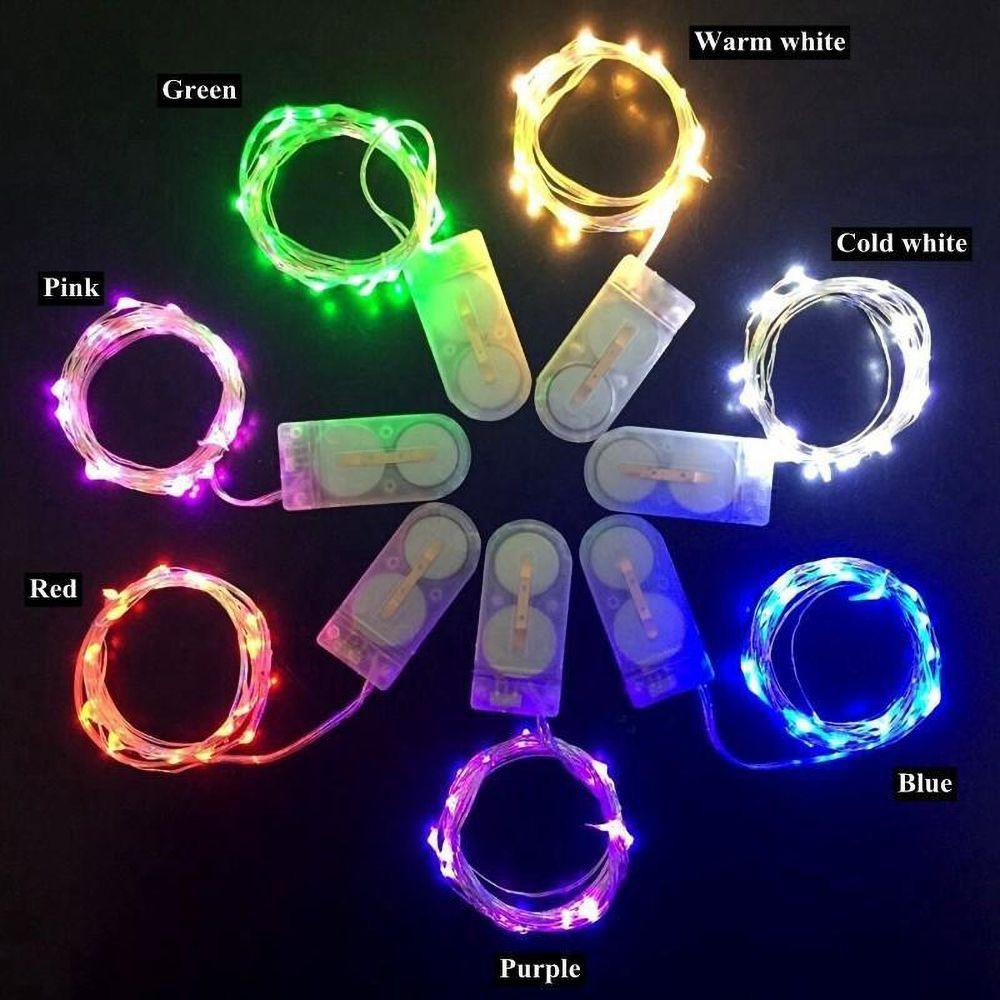 2m 20leds LED String Fashion Fontes Decoração CR2032 Bateria 1 metro 3M 4M 5m 6m 10m operado micro mini luz de prata luz estrelada para o Natal Halloween