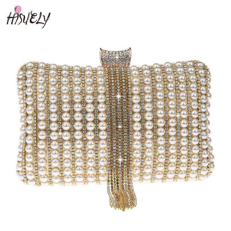 لؤلؤة الماس مساء حقيبة يوم مخلب اليد حقيبة العروس حقيبة بلينغ الذهب الزفاف محفظة أنثى حقيبة WY232 Q0709