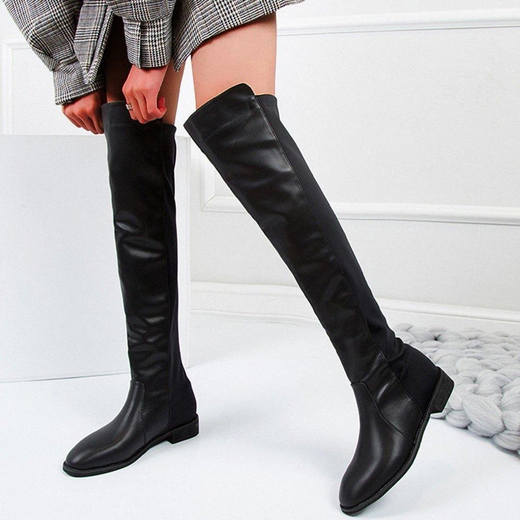 Sur les bottes au genou Noir Bottes longues Femme Femme Femme Femme Cuir Flock Slip sur la doublure chaude Talons Med Heels Kneeth Bottes # G3 P9hy #