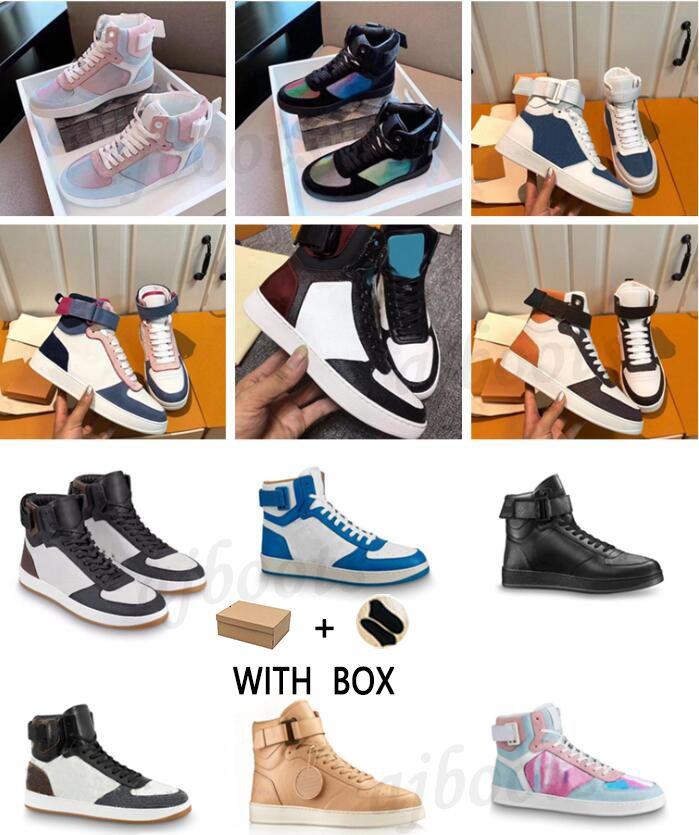 2021 ريفولي مدربون العجل عالية أعلى الأحذية مصمم الرجال الفاخرة الرجال حذاء التمهيد عارضة زوجين الرياضة بالجملة خمر